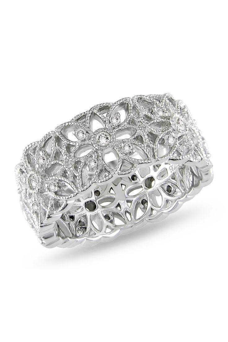 Sterling Silver Diamond Floral Filigree Fashion Ring - 0.33 ctw