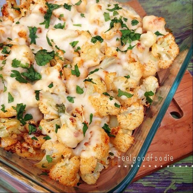 Cheesy Oven Roasted Cauliflower Casserole via Healthy Fitness Meals #lowcarb #comfort