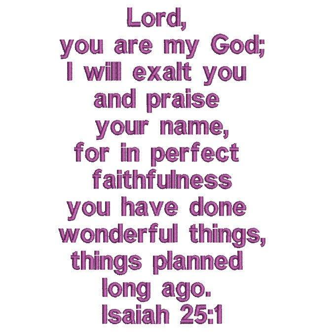 Isaiah 25:1 free Bible verse machine embroidery design