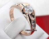 18K Gold Plated Diamond Ring with Austrian crystal -  Wedding Ring - Engagement Ring - Promise ring 249