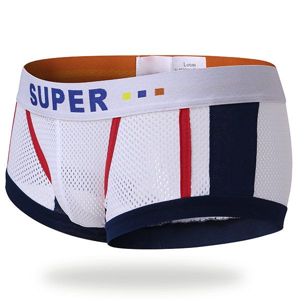 SUPERBODY Sexy Mesh Breathable Sweat Absorbent U Convex Boxer Underwear for Men