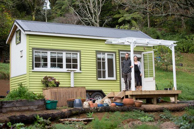 tom and shaye wilson with their tiny house in oratia auckland photo richard robinson home. Black Bedroom Furniture Sets. Home Design Ideas