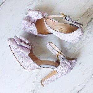 Lila Fiyonklu Tokası Simli Gelin Ayakkabısı (9,5 cm'lik topuk boyu)
