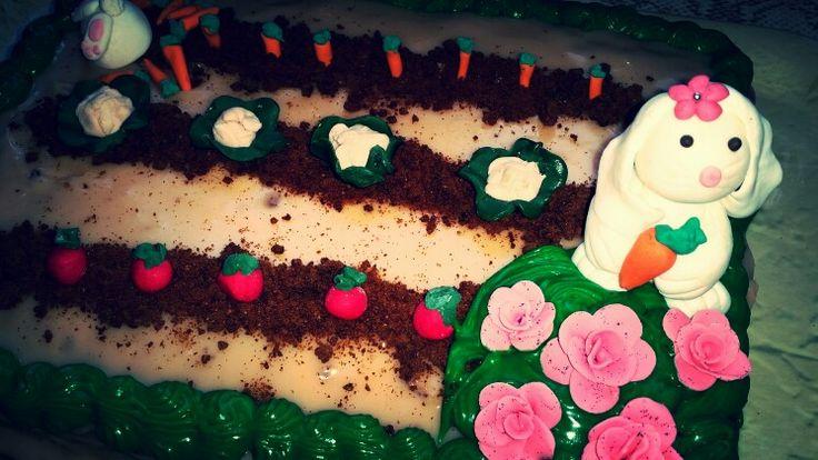 Bunny garden cake