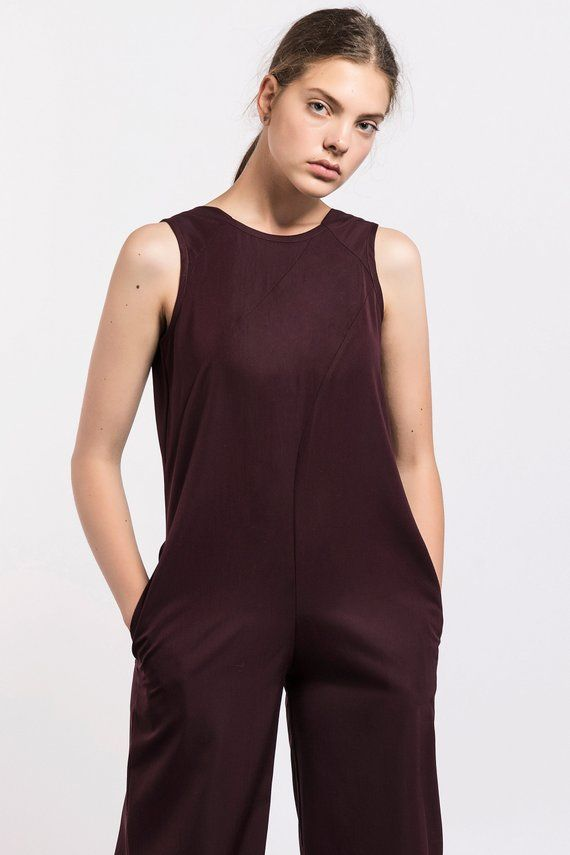 efce22cb69c Minimalist jumpsuit In bordeaux color that will add exceptional elegance to  your look and keep you comfortable at the same time.