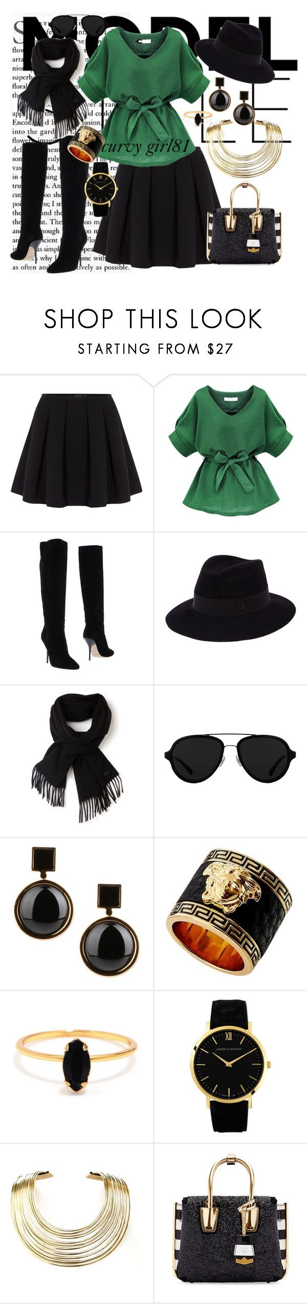 """""""Curvy green"""" by pretty-girl81 on Polyvore featuring moda, Polo Ralph Lauren, Jimmy Choo, Maison Michel, Lacoste, 3.1 Phillip Lim, Marc by Marc Jacobs, Versace, Bing Bang e Larsson & Jennings"""