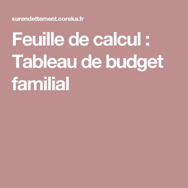 Feuille de calcul : Tableau de budget familial