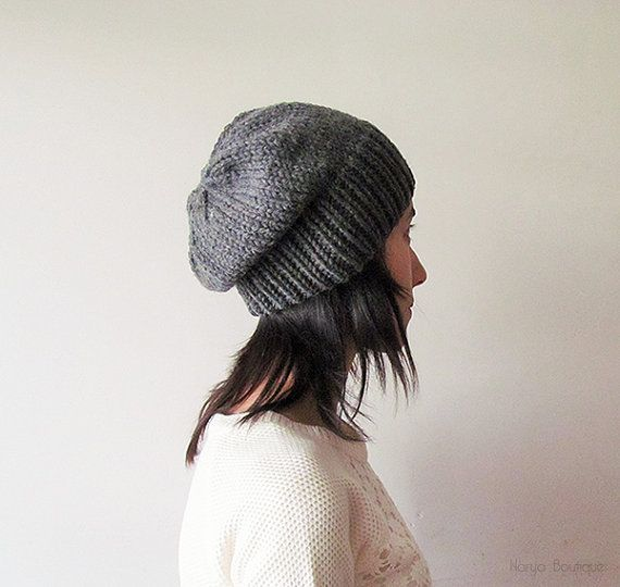 Medium Grey Slouchy Hat Hand Knit Chunky Slouch by naryaboutique