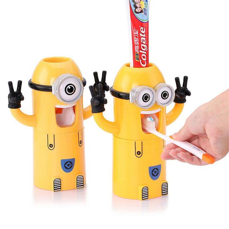 Accesorios de Baño Dispensador de Pasta de Dientes Automático Dispensador de Pasta de dientes Niño Minion Set de Baño Titular de cepillo de Dientes Taza De Plástico