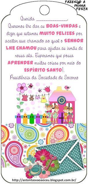 Cartão de Boas Vindas para irmãs que recebem chamados na Sociedade de Socorro