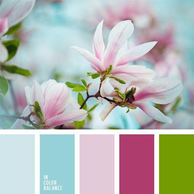celeste y rosado, color berenjena, color frambuesa, colores pastel, rosado, rosado suave, rosado y carmesí, selección de colores, tonos pastel, tonos rosados, verde, verde manzana.