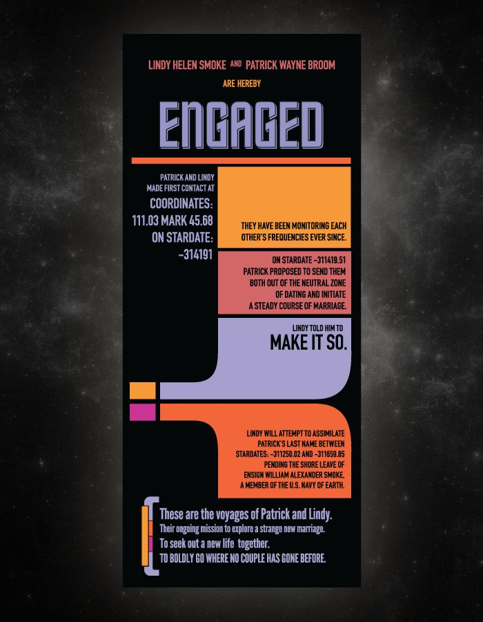 startrek engagement announcements. looking up nerdy wedding stuff is my new favorite thing to do.