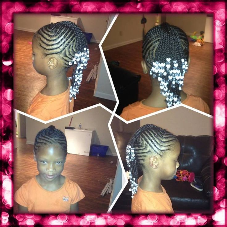 Fancy cornrowed mohawk with braids and beads