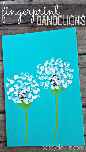 Fingerprint Dandelion Craft For Kids + Card Idea.  Beautiful craft idea to work on finger isolation!  #finemotor