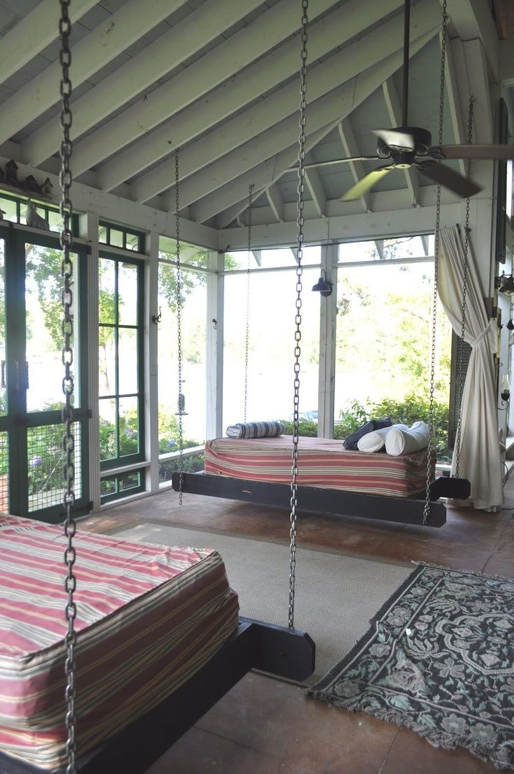 Cozy Sleeping Porch. Like the size of the windows...to the floor. Also the ceiling.