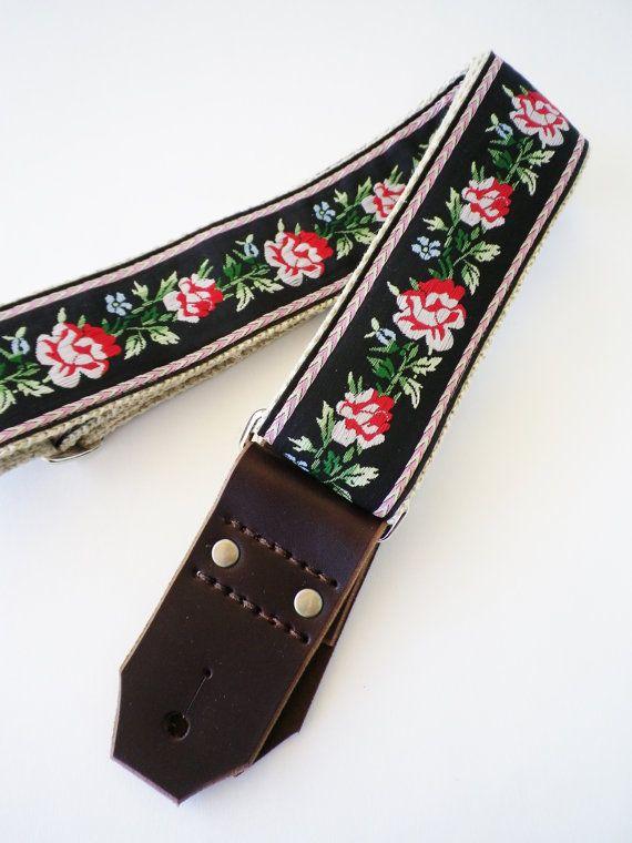 Hemp Guitar Strap  Western Style Roses Ribbon by FeedbackStraps, $70.00