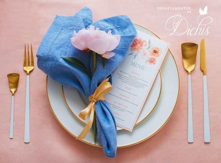 Wedding napkin setup with a beautiful peony and custom made menu. Wedding stationery and flowers