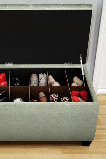 The Sole Secret Green Upholstered Shoe Storage  Bench by Sole Designs on @HauteLook  DIY idea, turn ottoman into shoe storage