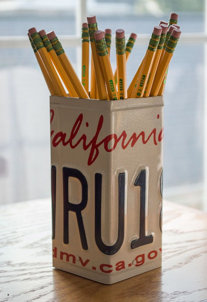 California License Plate Pencil Holder - Pencil Cup - Unique Pencil Cup - Desk Accessories - Office Decor - Pen Cup - Pen Holder - State Art by byDadandDaughter on Etsy https://www.etsy.com/listing/210746909/california-license-plate-pencil-holder