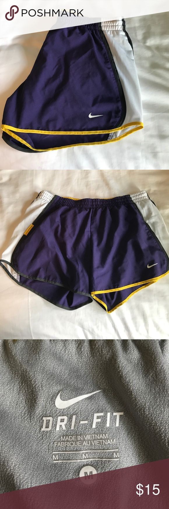 Nike Livestrong Dr Fit shorts (purple &a yellow) Size medium Nike Livestrong Dri Fit running shorts that are barely worn. Colors are purple, yellow (not neon), grey, white and black. No trades. Reasonable offers considered. Nike Shorts