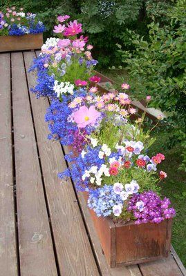 Love these flower boxes for deck--