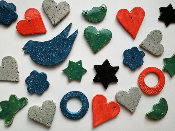 Ceramic pieces for christmas mobile. Anne Kimiläinen