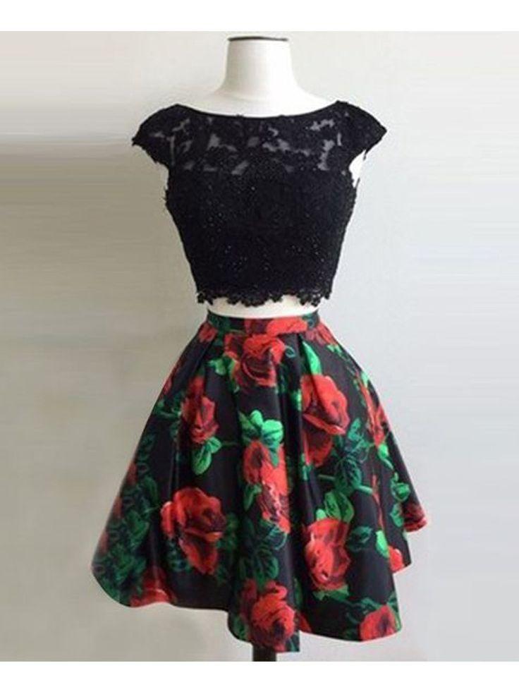 » Elegant A Line Two Piece Scoop Open Back Print Flower Short Dress, Black Lace Short Homecoming Dress, Little Black Dress 17