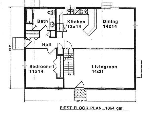 First floor plan of colonial saltbox house plan 94007 for Salt box house plans
