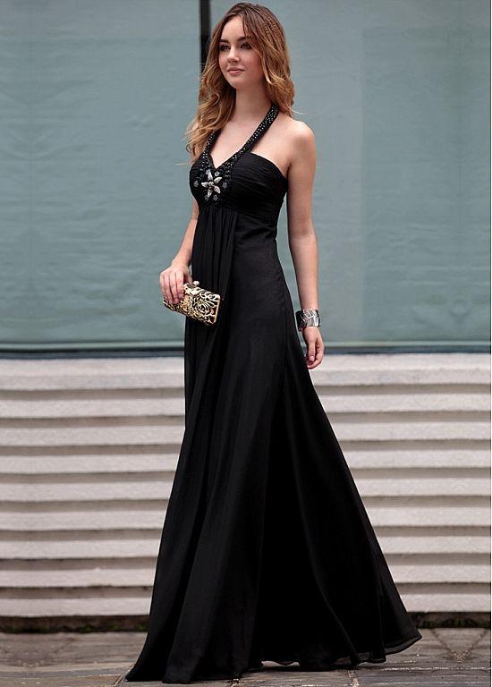 Sexy Black Halter Beading Floor Length Formal Evening Dress