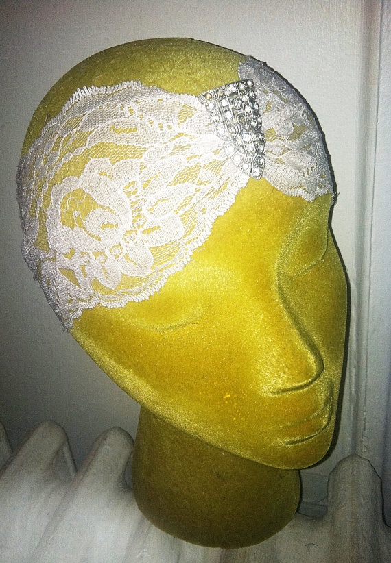 1920s Art Deco Style Antique Lace Bridal by ThePrancingFox on Etsy, $68.00