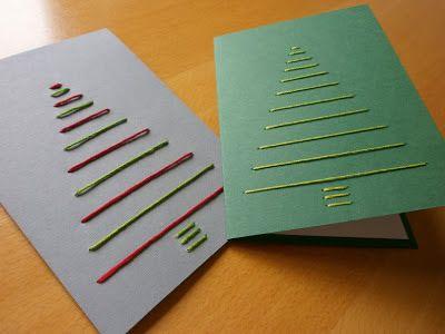 Weihnachtskarten Stickgarn durch Zeichenkarton, innen weiß aufkaschiert
