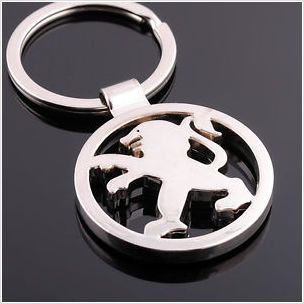 Peugeot 3D Chrome Metal Car Keyring - Key Ring - Keychain - Key Chain