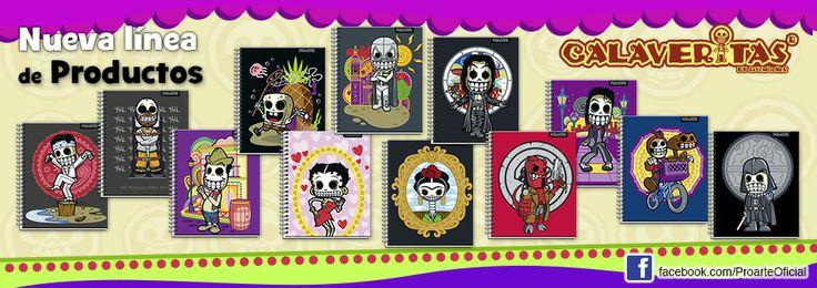 Conoce la nueva linea de #cuadernos  #Calaveritas. Disponible en supermercados y librerías.