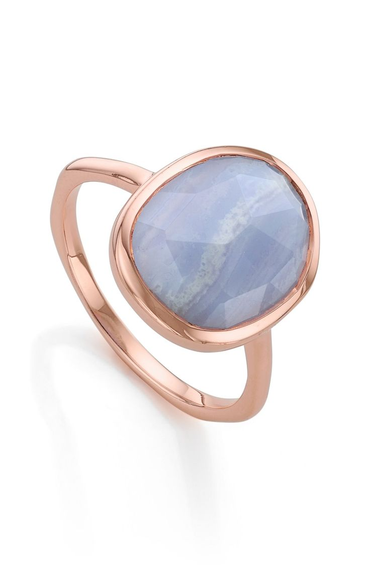 A beautiful combination of rose gold and blue lace adorns this stacking ring from Monica Vinader. Mix and match with other rings for a completed look!