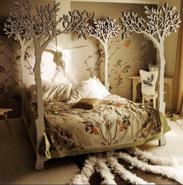 Diy Indie Bedroom Decor Wall Mounted White Frame Mirror The Grey Wooden Floor Wooden End Of Bed Brown Headboard Bed Beige Painted Wall