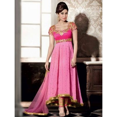 Breathtaking Wedding Designer Embroidery Pink Georgette Salwar Kameez