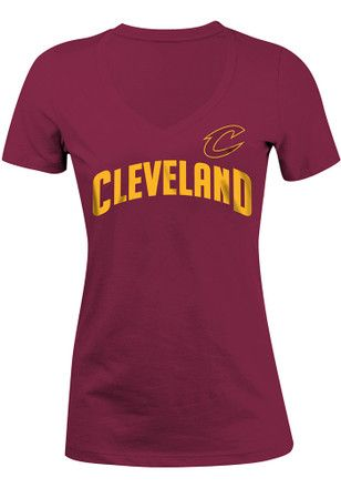 Cleveland Cavaliers Womens Maroon Glitter V-Neck