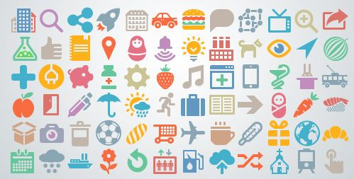 This free set of 1262 flat icons has mini icons for food, travel, ecommerce, entertainment, weather, science, and more.