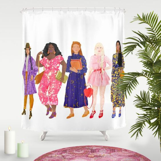 """Girl you relax, the sisterhood is covering you! New """"The Ladies"""" Shower Curtain! Available at my Society6 shop. Click! #fifikoussout #showercurtain #print #pattern #design #art #illustration #portrait #women #essentials #inspo #sisterhood #home #homedecor #kawaii #interior #bath #shower #bathroom #selfcare #relax #society6"""