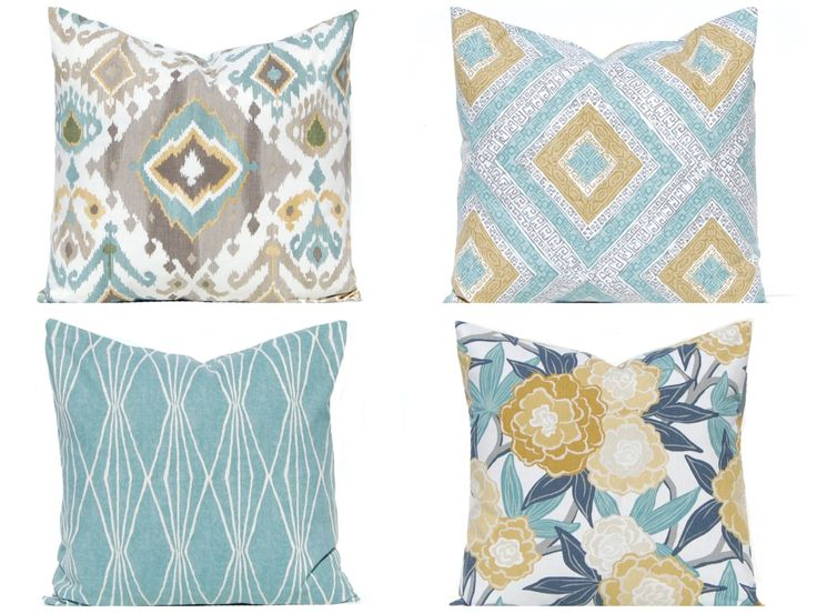 throw pillow covers sofa pillow covers in aqua and gold aqua pillow covers