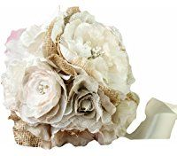 Lillian Rose Burlap and Flower Bouquet, 7.5-Inch