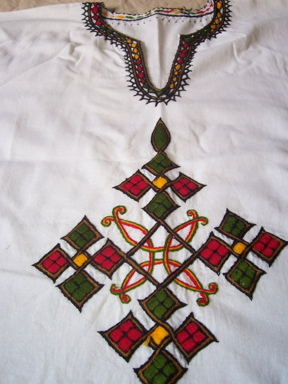 Handmade Ethiopian Shirt with Embroidered Coptic by CrucialCulture, $57.77