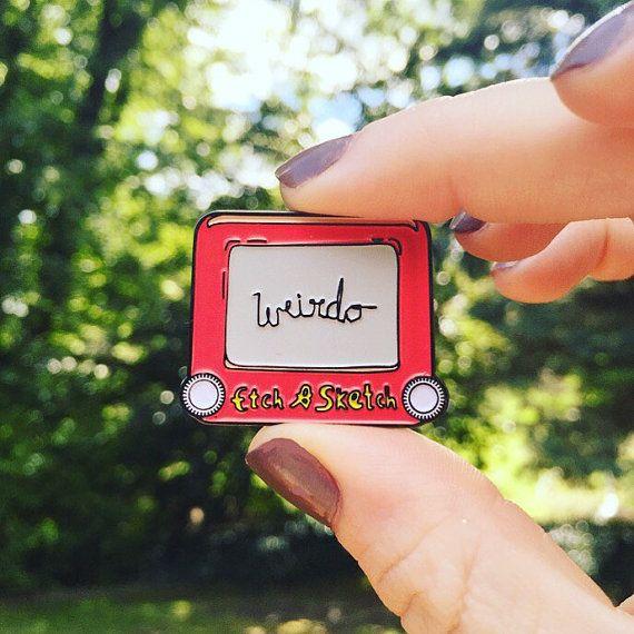 Weirdo etch a sketch enamel pin badge