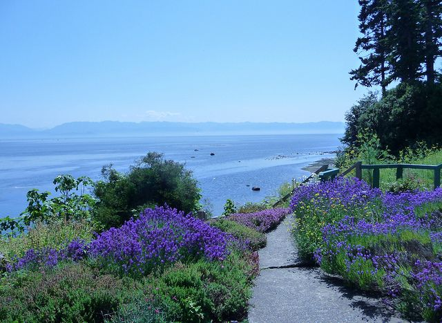 The beautiful gardens and views at Sooke Harbour House near Victoria, BC