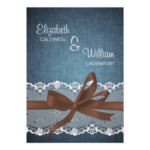 Denim Lace Ribbon Amp Bow Wedding Invitation Rustic