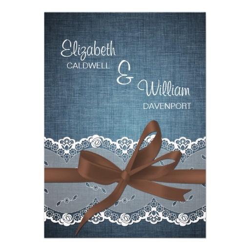 Denim Lace Ribbon Amp Bow Wedding Invitation