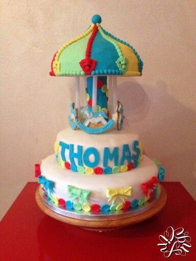 Torta per il battesimo del mio cuginetto Thomas a tema giostra