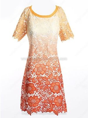 Orange Gradient Floral Cutwork Short Sleeve Shift Dress
