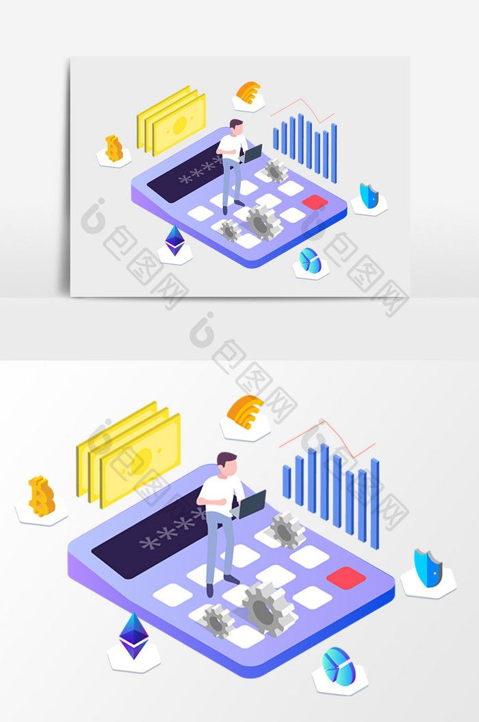 Multicolor Stereo Financial Network Data Analysis Isometric Vector