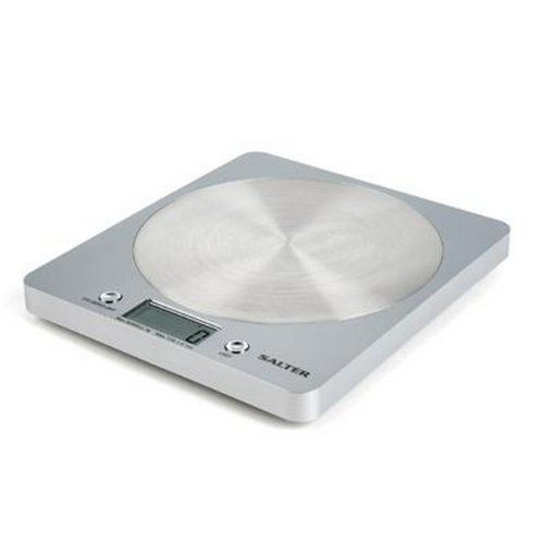 Salter Disc Electric Scales Silver by Salter. $32.79. Silver electronic kitchen scales with a contemporary design. Perfect for any kitchen! - Add & Weigh function - Allows for measurement of multiple ingredients in the same bowl - saves on washing up -Weigh ingredients directly onto the scale or use your own bowl ?Switch between metric and imperial ? Easy to read LCD display - Compact slim design for easy storage - Contemporary design -Capacity: 5kg / 11lb - Lithium CR2032 batt...